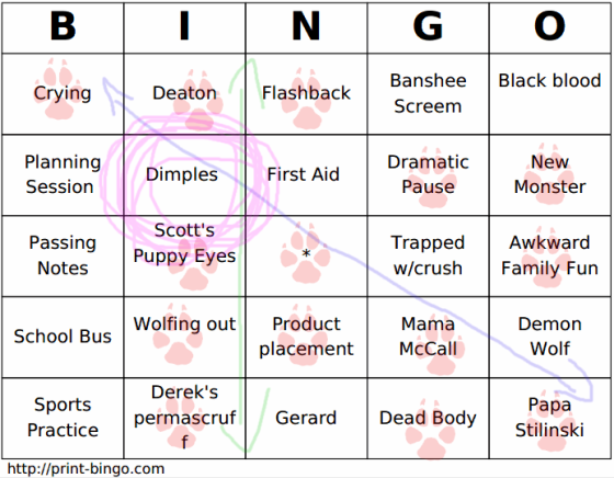 tw bingo card week one need more danny!!
