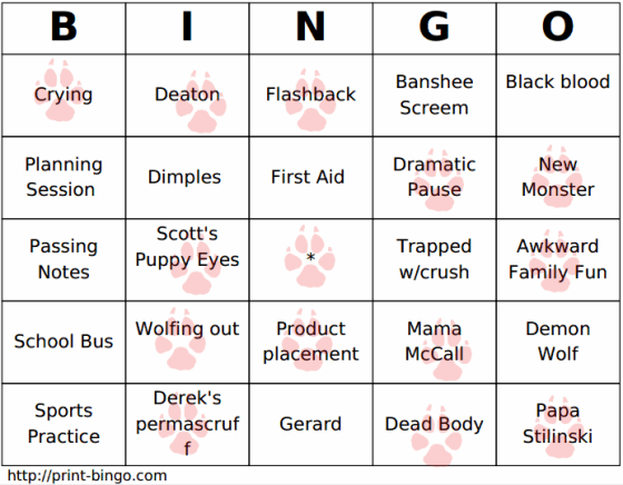 tw bingo card week one